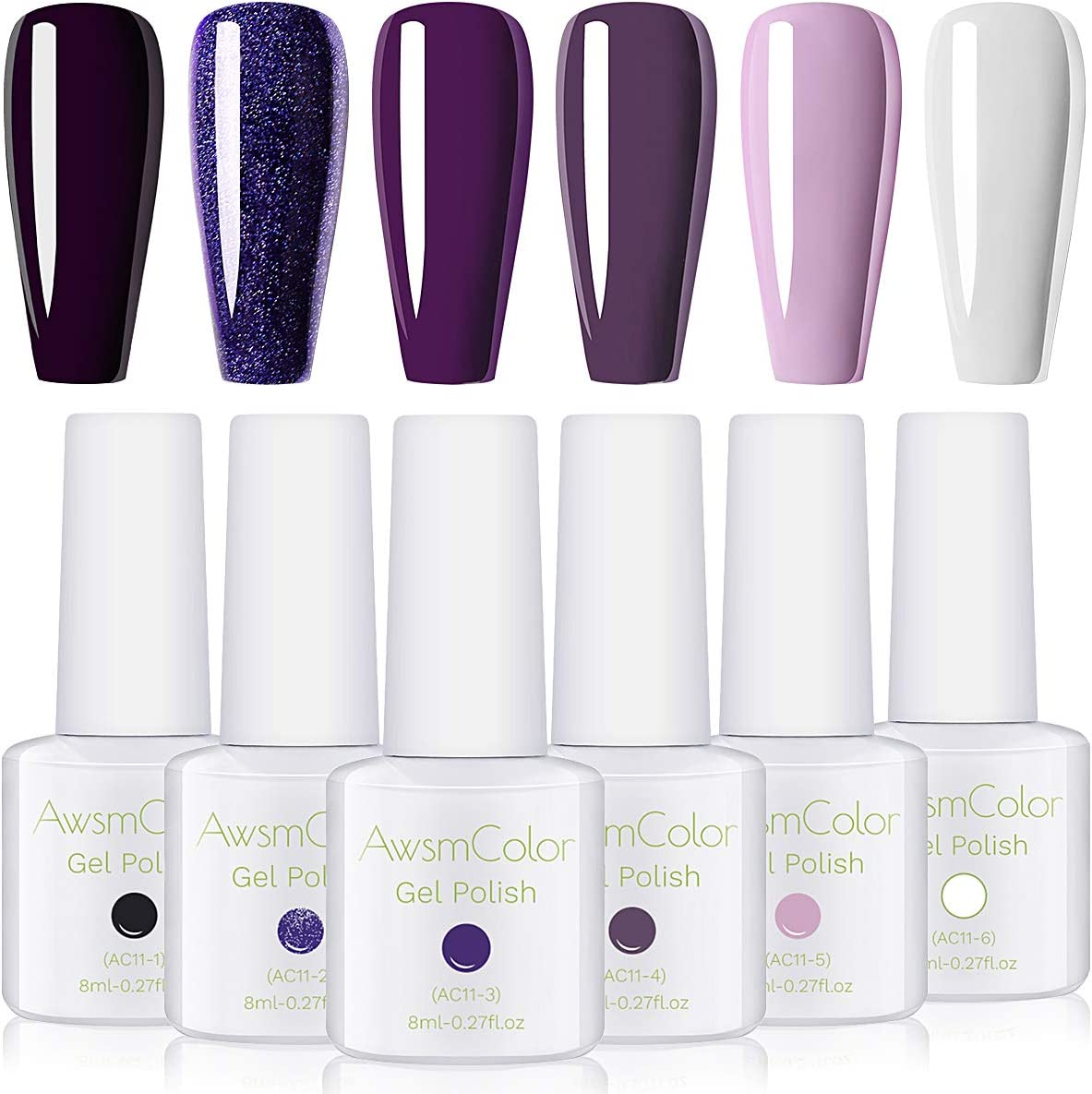 Nail Polish, AwsmColor Purple White Glitter Gel Nail Polish Set Lilac Light Soak Off Nail Gel Polish Kit 6 Bottles 8ML 2020 Design Nail Art for Women Girl Manicure DIY Home