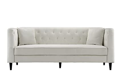 Exceptional Mid Century Tufted Velvet Sofa, Living Room Couch With Tufted Buttons  (Beige)