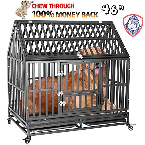 """petgroomingtable Heavy Duty Dog Cage Strong Metal Roof Kennel and Crate for Large Dogs, Easy to Assemble Pet Playpen with Four Wheels, 46""""/Black"""