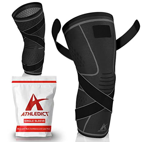 S/&J FIT Knee Brace for Thigh Arthritis Pain and Support Meniscus Tear Compression Knee Pads for Basketball Volleyball Knee Sleeves for Men Women L Single