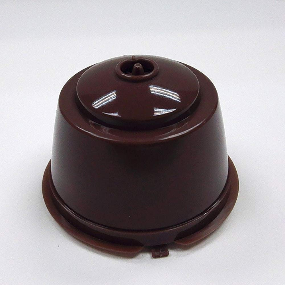 KEYkey Ustensile Accessoire r/éutilisable caf/é Capsule Filtre Parfaits pour Dolce Gusto avec Une cuill/ère en Plastique Blanc Brown pour la Maison