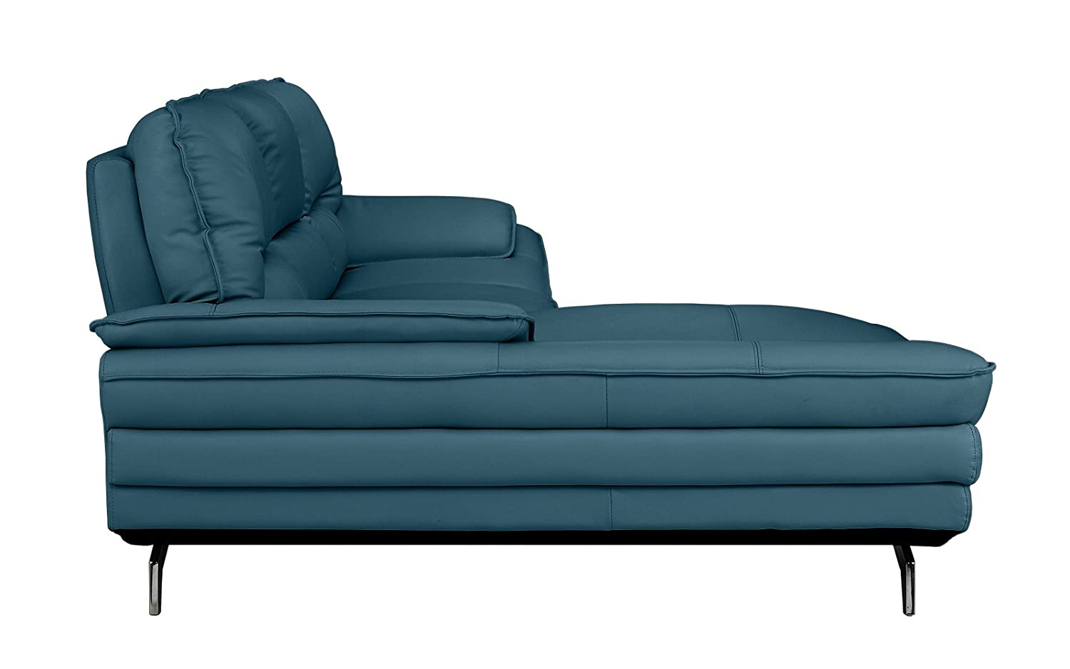 Divano Roma Furniture Living Room Leather Sectional Sofa Shape Couch With  Chaise Lounge Teal Kitchen Dining
