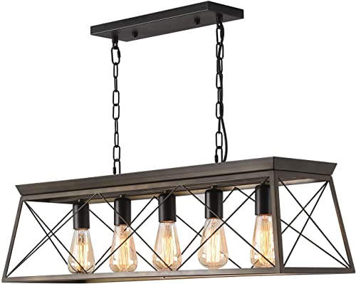 ISRAMP 5 Lights Linear Kitchen Island Pendant, Dining Room Chandelier, Modern Farmhouse Wood Texture Metal Shade E26-Socket Ceiling Hanging Light Fixture