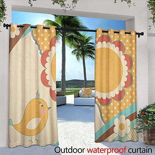 Doodle Grommet Curtain Cute Little Bird with a Giant Flower on a Dotted Background Retro Inspired Print Embossed Thermal Weaved Blackout 84