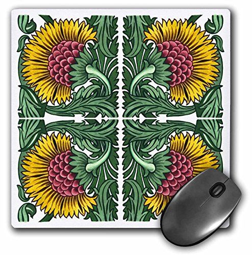 3dRose Russ Billington Illustrations - Four Yellow Flowers - Mousepad (mp_220872_1)