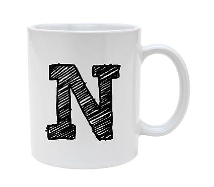 ceramic alphabet letter handwritten letter n 11oz coffee mug cup