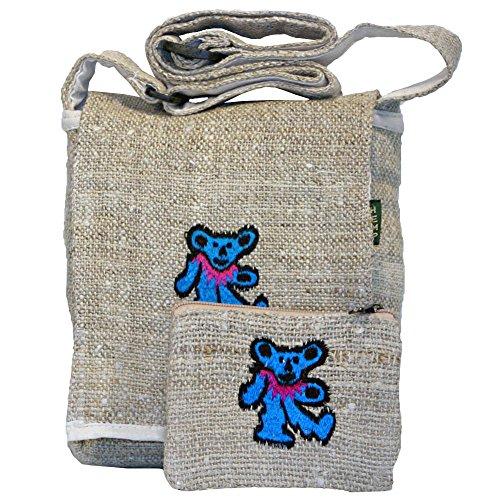 Grateful Dead Dancing Bears Hemp Hippie Boho Cross Body Bag with Change Purse (Blue)