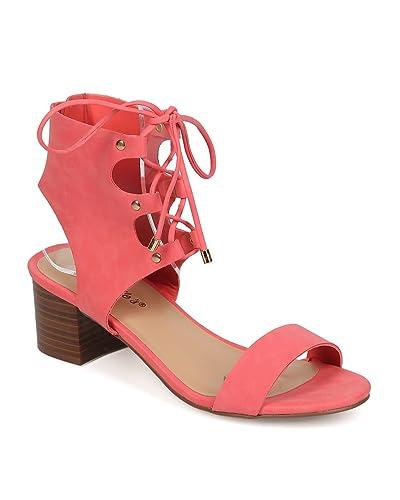 1b9b02c9a9 Breckelle's Women Leatherette Peep Toe Gilly Tie Low Heel City Sandal EG10  - Grapefruit (Size