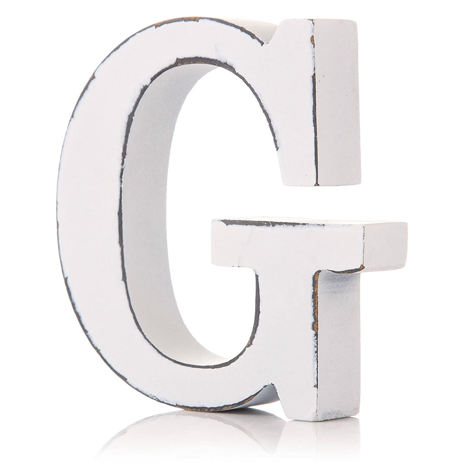 Vintage White Wooden G Letter by giftwarez
