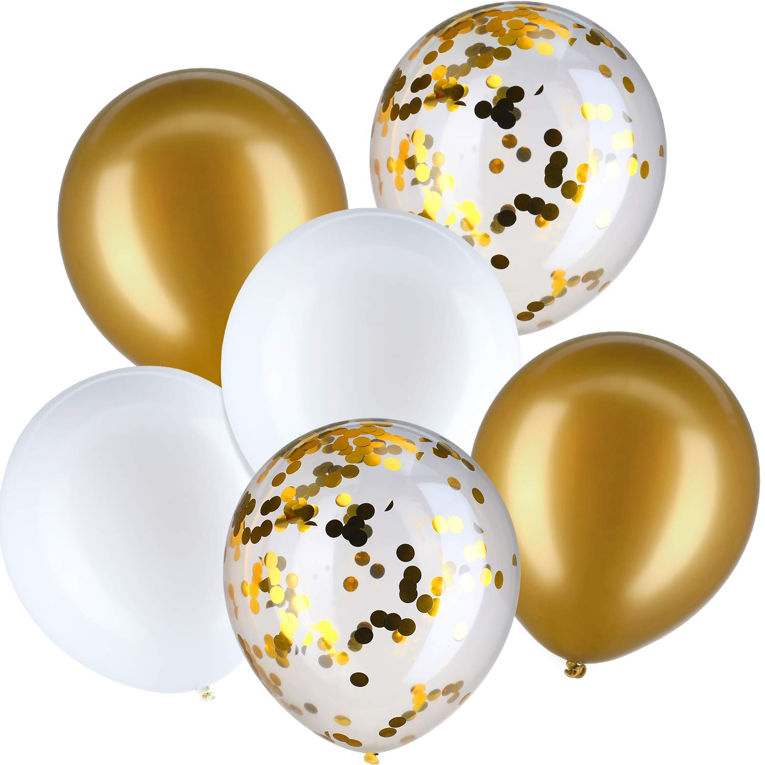 Jovitec 30 Pieces 12 Inches Latex Balloons Confetti Balloons for Wedding Birthday Party Decoration (Silver and Gold)