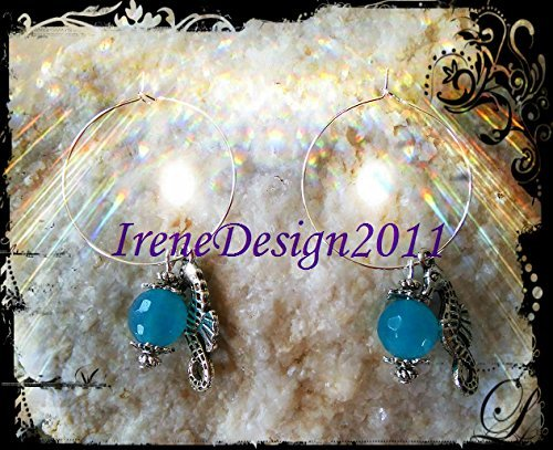 Facetted Chalcedony & Seahorse Earrings