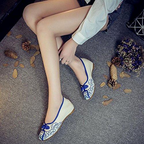 Étnico Suela Estilo Gamuza Tendón Zapatos Mujeres Azul Bordado De Moda Casual Mn Zapatos Cómodo pFRqwn
