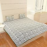 traditional mafia Luxury Collection Printed Double Bed Sheet Set with 2 Pillow Covers, King, Green
