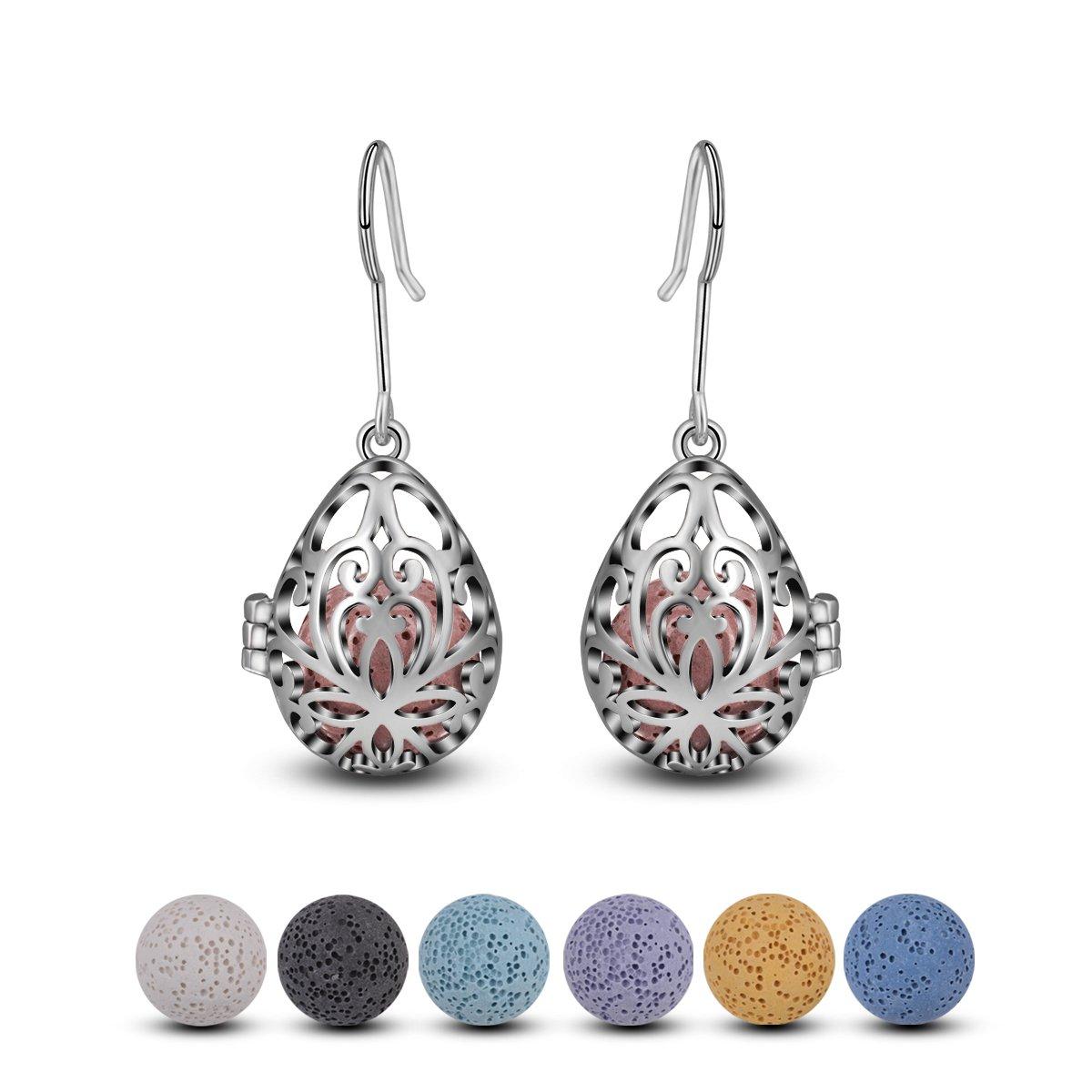 INFUSEU Teardrop Flower Dangle Earrings Essential Oil Women Lava Stone Diffuser Aromatherapy Jewelry (Silver)