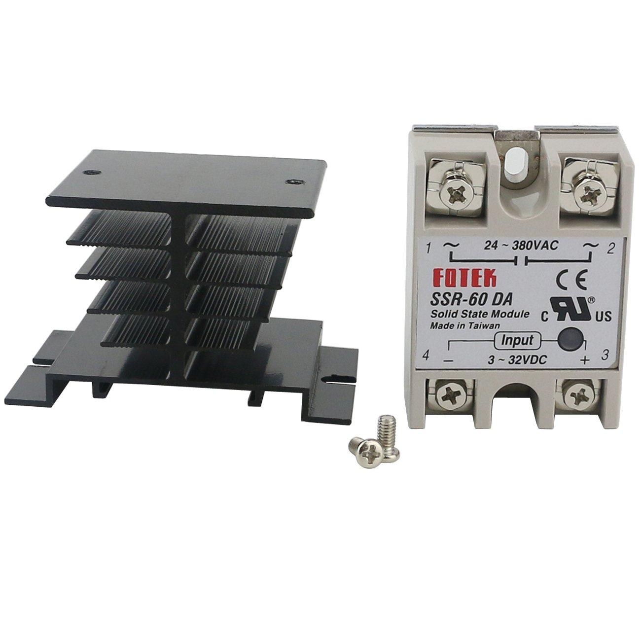 Sunnyglade Solid State Relay SSR-60DA with Heat Sink Input 3-32VDC Output 24V-380VAC (SSR-60 DA)