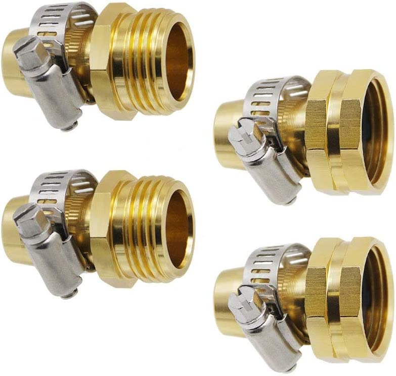 """ZUNTENG Garden Hose Repair Kit,3/4 Inch Garden Hose Repair Connector with Clamps Male and Female Garden Hose Mender End Repair,Fit for 3/4"""" or 5/8"""" Garden Hose Fitting(2 Set)"""
