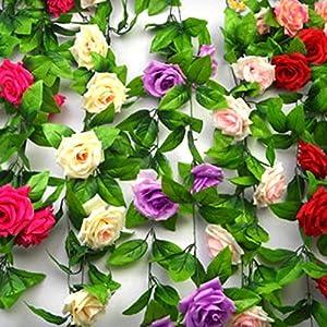 ESTD Artificial Fake Silk Rose Flower Vine Hanging Ivy Garland Home Decor (Champagne) 2