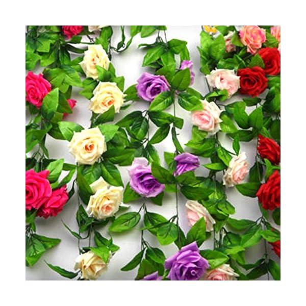 ESTD-Artificial-Fake-Silk-Rose-Flower-Vine-Hanging-Ivy-Garland-Home-Decor-Champagne