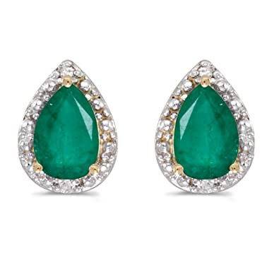 4f18231348c72 Amazon.com: 14K Yellow Gold Pear Shaped Emerald and Diamond Earrings ...