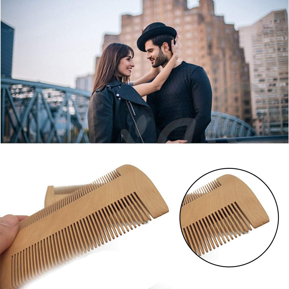 USHOT, Wooden Beard Comb Anti Static Wood Pocket Comb with Fine Coarse Teeth For Beard EWF700Y