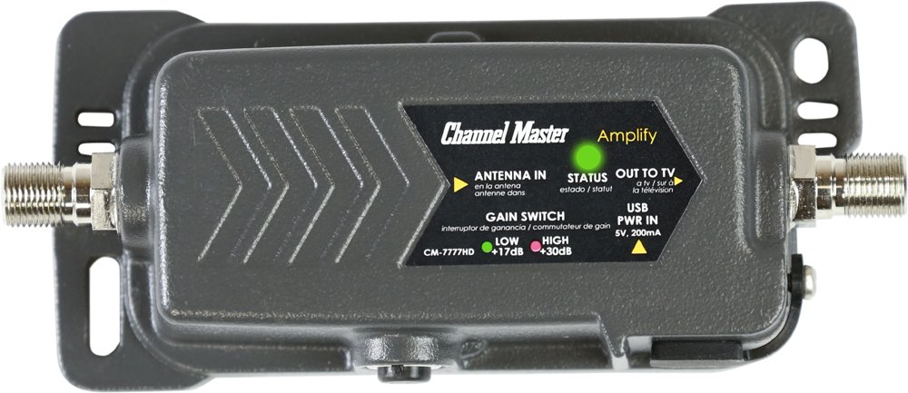 Channel Master CM-7777HD Amplify Adjustable Gain TV Antenna Preamplifier with LTE Filter | Indoor/Outdoor by Channel Master