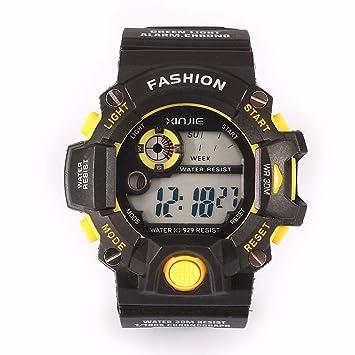 Reloj de pulsera deportivo, Funic Hombres Reloj digital de cuarzo LED militar impermeable reloj de pulsera amarillo color: Amazon.es: Hogar