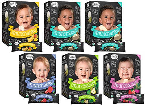 Nosh Baby Munchables Organic Rice Teething Wafers, 26 Piece, Variety Pack (Pack of 6), Option 2