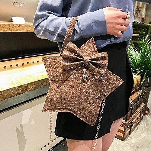 a Bag Mano Borsa Pu Bow di B Luo Beauty Sacchetto Donna Pelle Paillettes Cravatta Crossbody Borsa Spalla Donne 7BqgOwgv