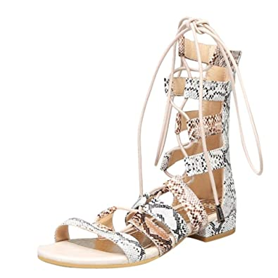 6337ef378c1 Carolbar Womens Snakeskin Lace Up Gladiator Sandals (10