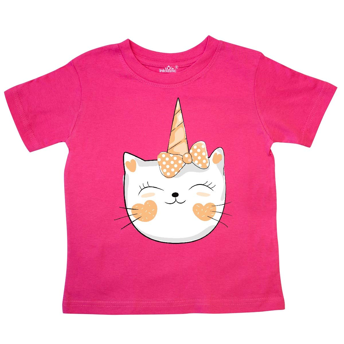 Cat with Dotted Ribbon inktastic Unicorn Cat Orange Toddler T-Shirt