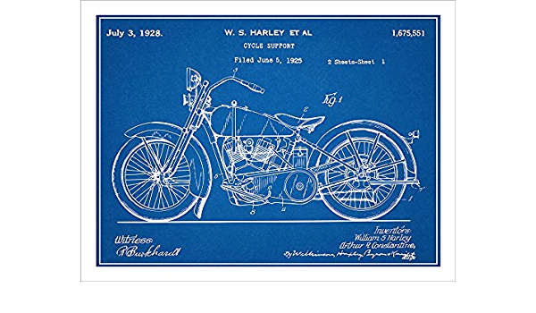 Oficial 1928 Harley Davidson patente Art Print-Motocicleta Antiguo Vintage 455