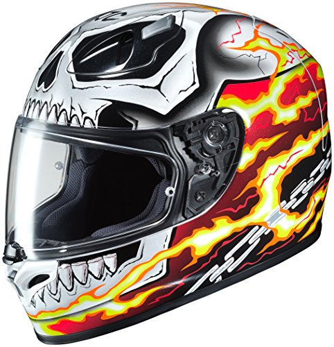 HJC Helmets Unisex-Adult Full-face Style Ghost Rider Motorcycle Helmet (White/Red, Large)