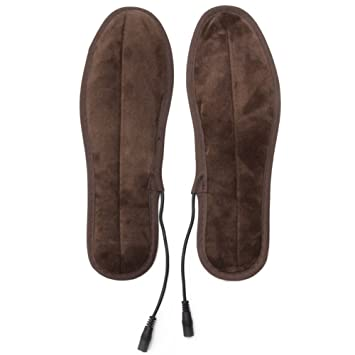 05a081b32e27 USB Electric Plush Fur Heated Insoles Rechargeable Feet Warmer Keep Warm  Foot Shoes Insole  Amazon.co.uk  Sports   Outdoors