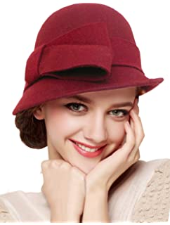 1a6e7c5dca0 Bellady Women Solid Color Winter Hat 100% Wool Cloche Bucket with Bow Accent
