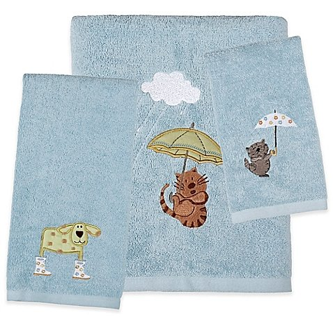 Fingertip Towel Raining Cats and Dogs Adorable Animals Dodging Raindrops
