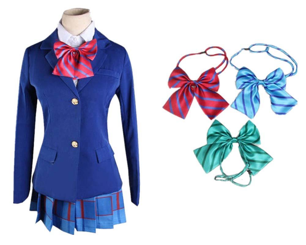 Lifeye Anime Love Live Cosplay Costume Students School Uniform Blue Coat with Skirt and 3 Bowknots