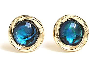 9ct Gold Abalone Button Stud earrings Ak7ANP