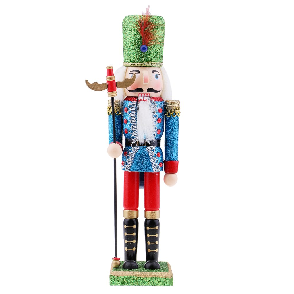 Flameer Wooden Soldiers Nutcracker Home Decor Handmade Puppet for Festival Party Christmas Birthday Gift - #2