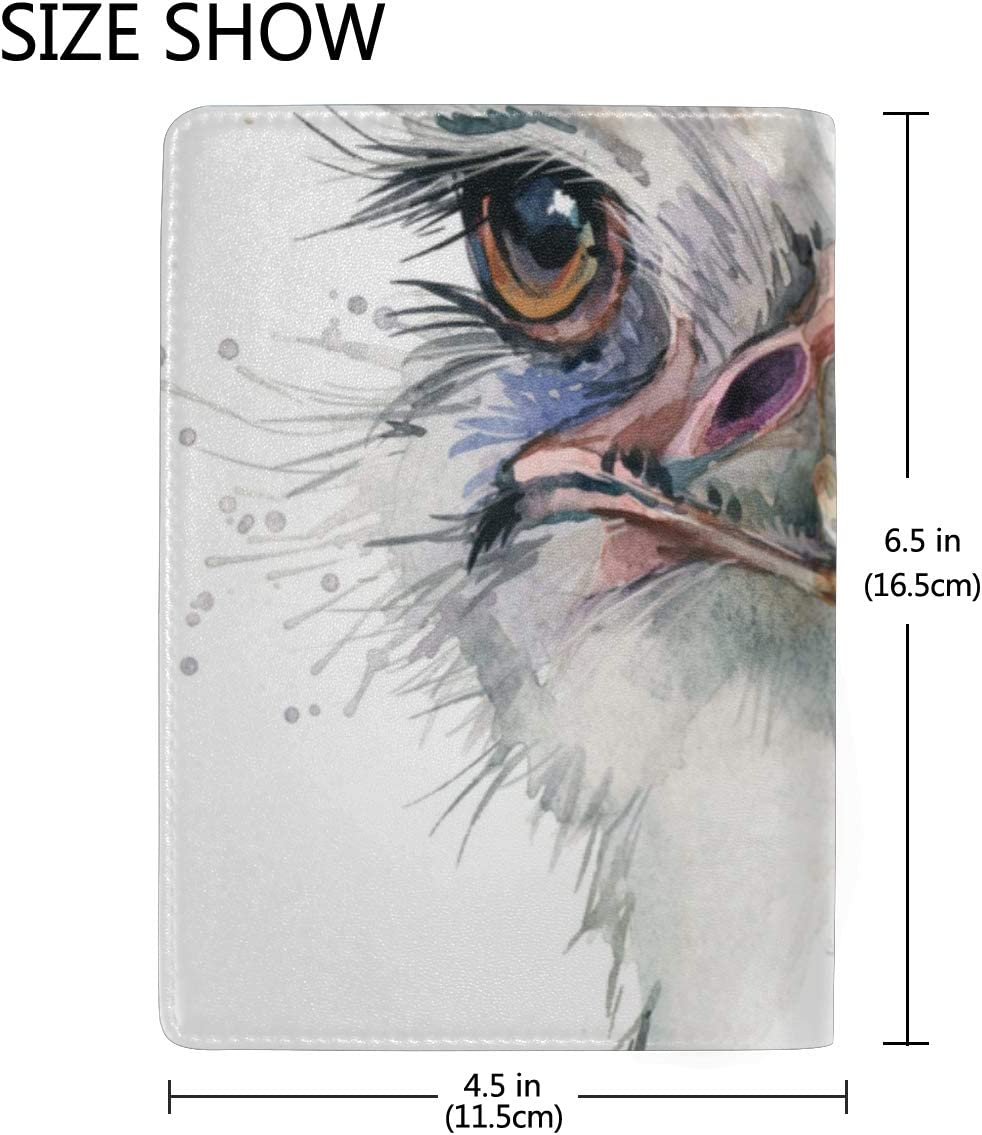 Lovely Little Ostrich Head Blocking Print Passport Holder Cover Case Travel Luggage Passport Wallet Card Holder Made With Leather For Men Women Kids Family