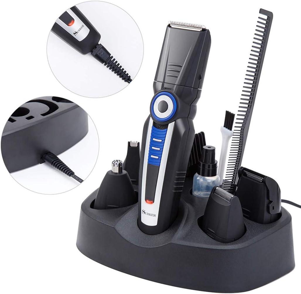 Cortapelos para hombres, cortapelos 5 en 1 barba recortadora \u0026 pelo cortapelos afeitadora afeitadora oreja corte eléctrico pelo cortapelos: Amazon.es: Salud y cuidado personal