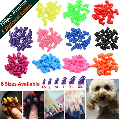 JOYJULY 100pcs Dog Nail Caps Soft Claws Covers Nail Caps for Pet Dog Pup Puppy Paws Home Kit, 5 Different Colors RANDOM, with Glue, Tips and Instruction, XXL - Puppy Cap