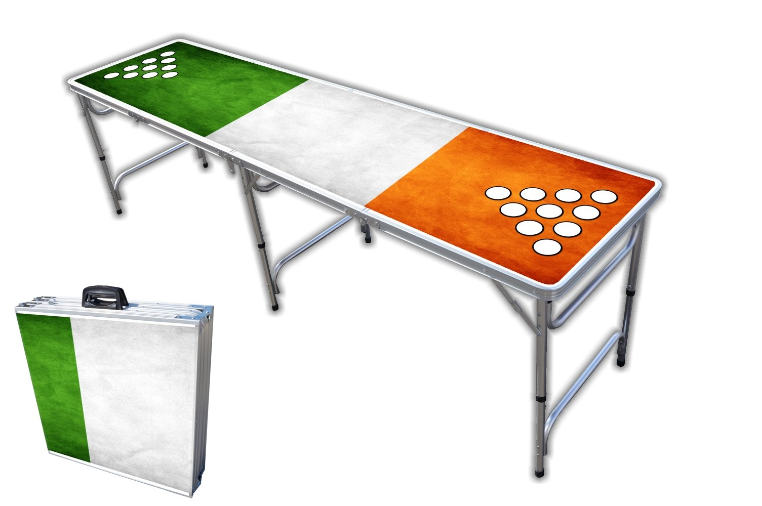 8-Foot Professional Beer Pong Table w/Cup Holes - Shenanigans Graphic by PartyPongTables.com