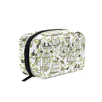 c26d62508864 Amazon.com : MAPOLO Birds With Birdcages Handy Cosmetic Pouch Clutch ...