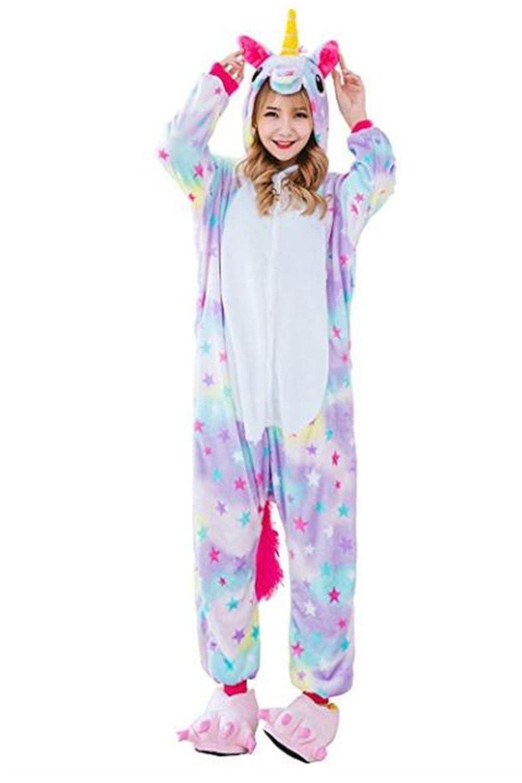 Adulto con Capucha Pijamas Unicornio Fancy Unicorn Costume Ropa de Dormir Navidad Disfraz de Halloween