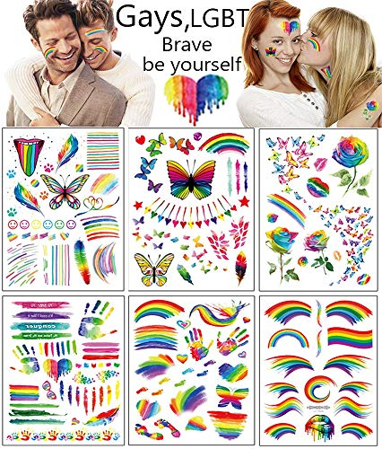 Gay Pride Tattoo Set 6 Sheets Colorful Rainbow Flag Butterfly Flowers Body Art Watercolor False Temporary Tattoos Stickers for Gay Pride Equality Men Women Parades Festival Party Celebration Supplies