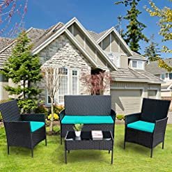 Garden and Outdoor Viewee 4 Pieces Patio Furniture Sets Rattan Wicker Patio Set with 2 Cushioned Chairs | 2 Blue Cushion | 1 Glass Top… patio furniture sets