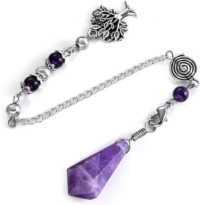 Amethyst stone Chakra  ball Pendulum Prism Magic Wand Reiki Healing Pendant