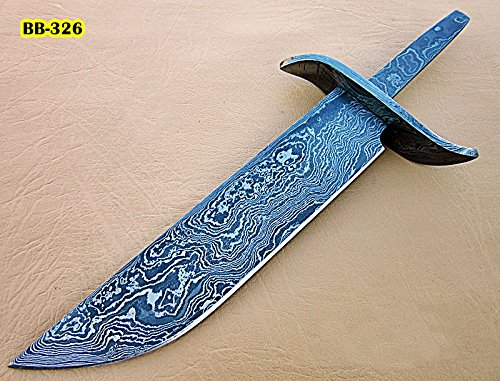 Poshland BB-326, Handmade Damascus Steel 10.2 Inches Full Tang Hunting Knife with Damascus Steel Guard Blank Blade