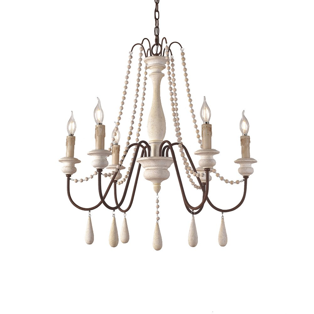 JinYuZe Ceiling Light Fixture,French Country Candle-Style Wood Bead Swag 1-Tier/2-Tier Wooden Chandelier,6 Lights,White