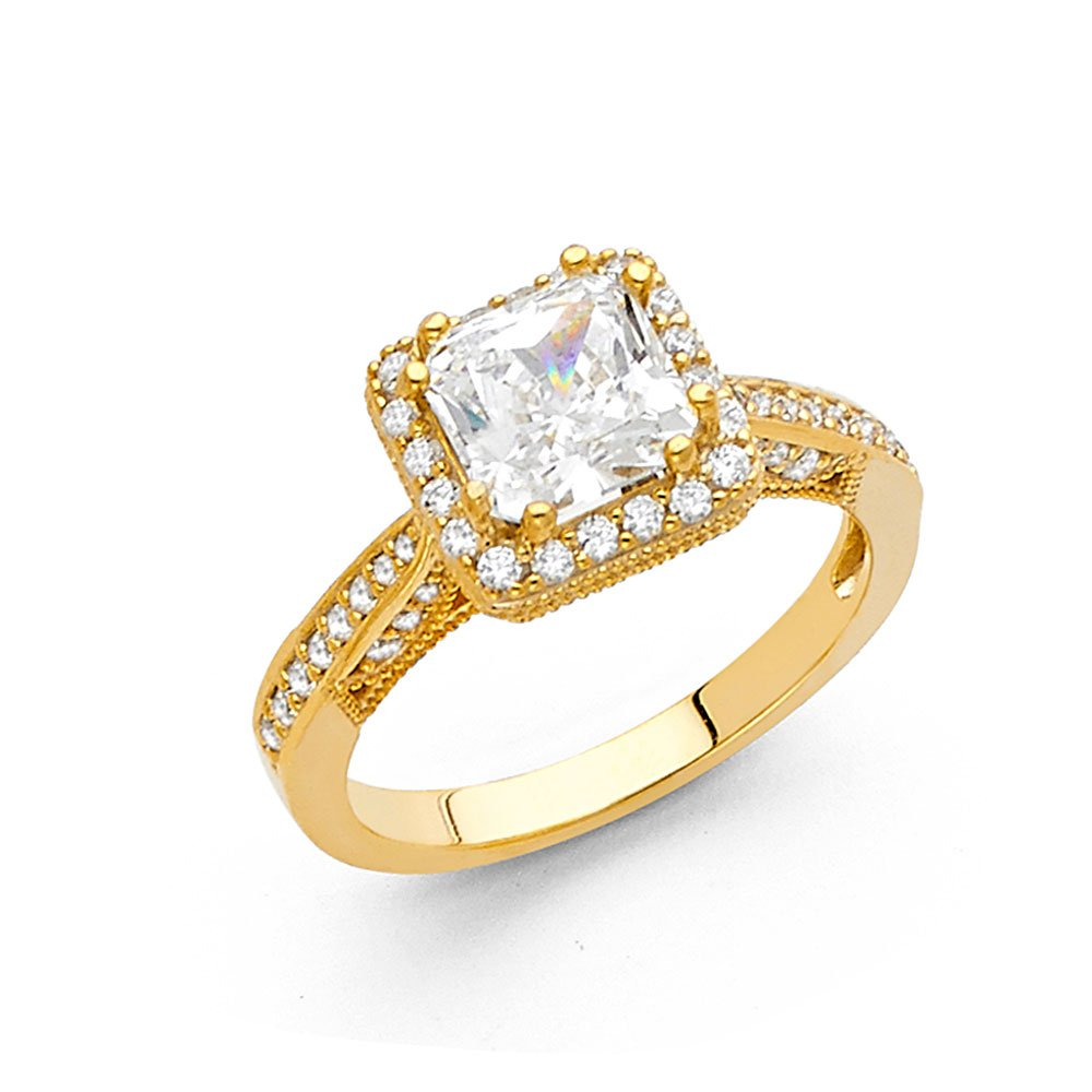 14K Solid Yellow Gold Cubic Zirconia Princess Cut Halo Wedding Engagement Ring with Side Stones, Size 6